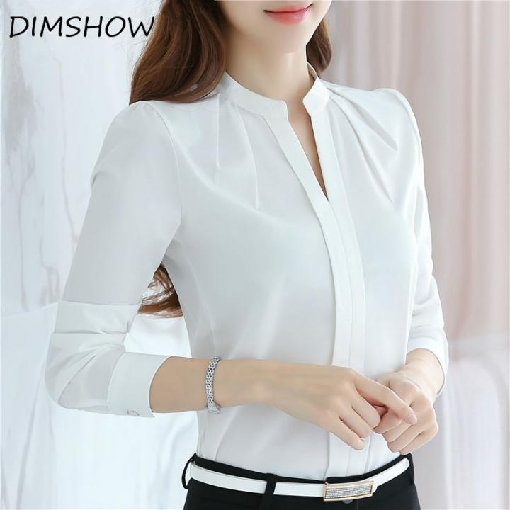 V-neck Long Sleeve Elegant Ladies Office chiffon Shirts white xl