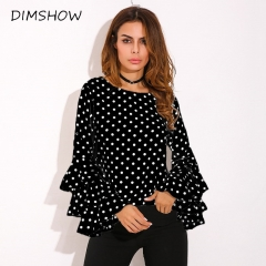 Polka Dot Ruffle Flouncing Long Flare Sleeves O Neck Blouse Fashion Office Female Tops Shirt black l