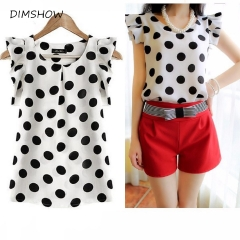 polka dot ruffled pleated chiffon short-sleeve shirt female plus size chiffon tops white l