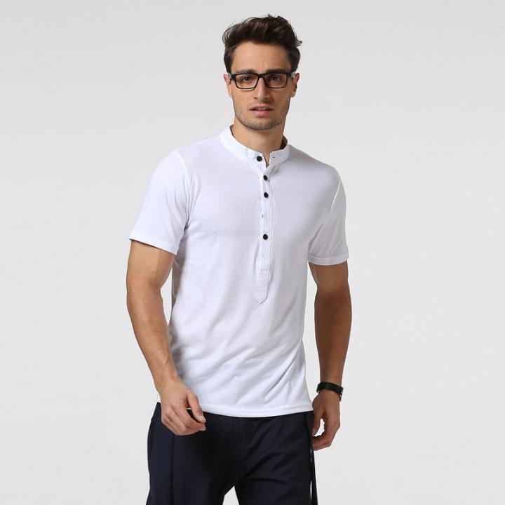 f82d8d659f5e Men 2017 Summer Short Sleeve Slim Fit Henley T Shirts Brand Design European  Style Tops Homme