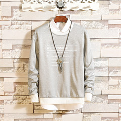 Sweatshirts Men Letter Printed Autumn Spring Hip Hop Mens Hooded O-Neck Casual Men Long Sleeve grey m