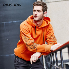 Fashion Orange Color Hoodies Mens Thick Winter Sweatshirts Men Hip Hop Streetwear Solid Fleece orange s