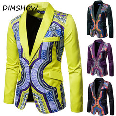 Traditional cultural wear mens africa suit jacket clothing fashion hip hop blazers casual robe yellow m