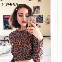 2018 Sexy Crop Top Female Leopard Printed T-shirt Women Fashion Slim Long Sleeve Autumn Tshirt as picture s
