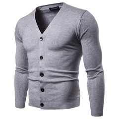 2018 Solid Color V Neck Knitted Cardigans Men Spring Autumn Slim Fit Thin Knitting Sweater for Men light grey m