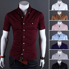 Men Shirt Brand 2018 Short Sleeve Hawaiian Shirts Casual Metal Buckle Hit Color Slim Fit  Shirts wine red xxl