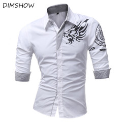 2018 New Men'S Long-Sleeved Dress Shirt Dragons Men'S Casual Slim Lapel Male Quality Large Size 4XL white m