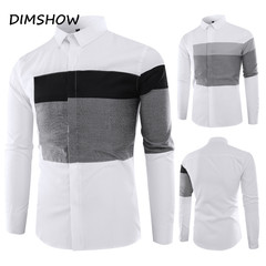 New Design Man Brand Shirt Long Sleeve Casual Slim Fit Blue Patchwork Gray Black Mens Clothing black m