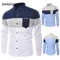 2018 New Fashion Brand Men Shirt Three-Color Stitching Shirt Long Sleeve Slim Fit Camisa Casual deep blue m