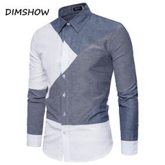 Mens long Sleeve printed Clearance Slim Fit Button Front Shirts casual patchwork collar shirt spring white s