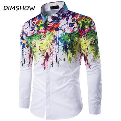 Printed Shirt Men Brand Design Geek Psychedelic Cotton Chemise Homme Casual Slim Fit Camisetas XXL as picture m