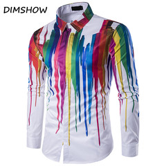 Newest colorful ink pattern fashion men's shirts full sleeve Western casual tops Slim fit low price as picture m