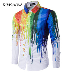 New 3D Printing Shirt Men Splash-ink Printed Colorful Design Long Sleeve Cotton Male Chemise Homme as picture m