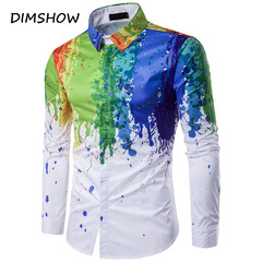 New Style Colorful Men 3D Print Features Shirts Men Casual Shirt Long Sleeve Casual Slim Fit Shirts as picture m