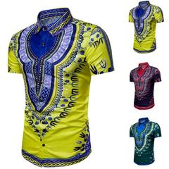 New Fashion Mens Beach Short Sleeve Shirt Summer Hipster Hip Hop African Dashiki Graphic Top yellow m