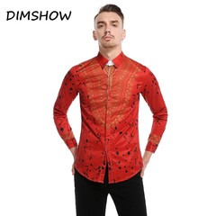 Men's Casual Shirt Long Sleeve Golden Print Fashion Slim Buckle Lapel Ready-made Stiff-collared red m