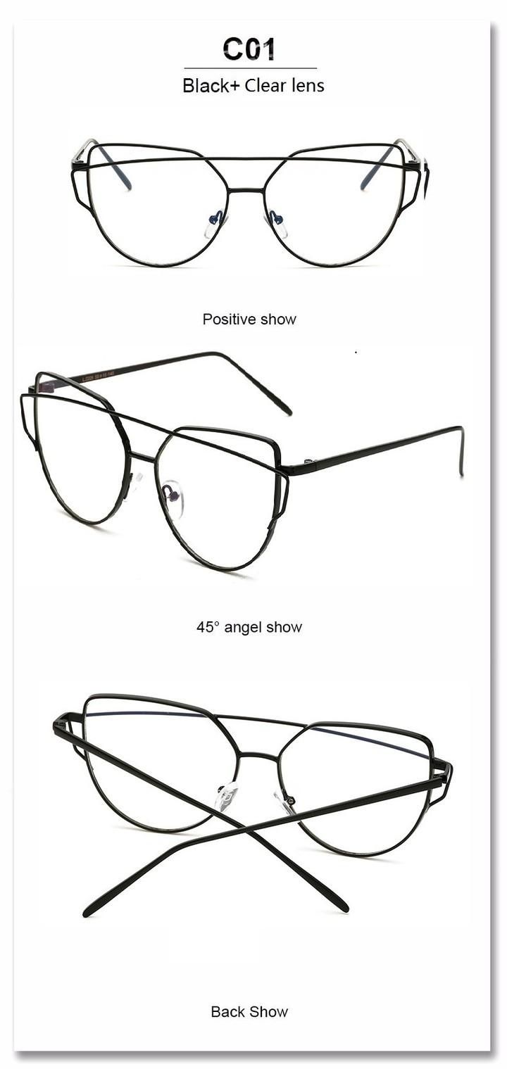 075b0f13ca9 Newest Cat Eye Glasses Frame Women Brand Designer Metal Eyeglasses Frame  Clear Fashion Glasses black one