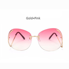 2018 Newest Rimless Bend Leg Sunglasses Brand Designer Trend Colorful Lens Summer Styles Sun Glasses 2 one size