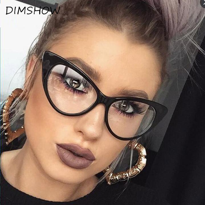 Cat Eye Glasses Frame Women Luxury Brand Designer black big