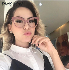 Vintage Women Cat Eye Plain Glasses Frames Optical Brand Women Clear Cat Eye Eyeglasses Frame pink one size