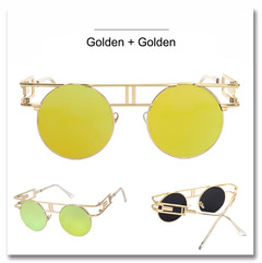 Quality Metal Frame Steampunk Sunglasses Women Brand Designer Round Men Gothic Vintage Sun glasses gold+gold one size