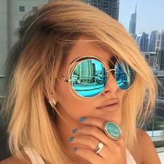 Retro Round Oversized lens Mirror Brand Designer Pink Sunglasses Lady Cool Women Sun Glasses gold+blue one size