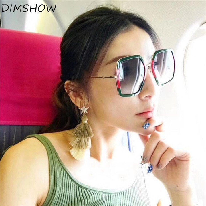 b6a3a4e849 Fashion Oversized Square Sunglasses Women Luxury Design Brand Crystal Frame  Vintage Sun Glasses green one size