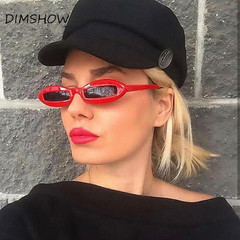 fashion Design Women Sunglasses Small Oval Frame Sun Glasses Unique Eyewear Funny Shades UV400 red one size