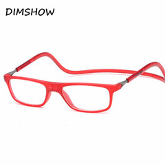 2018 Magnetic Reading Glasses Men Women Hanging Neck Folding Glasses +100 red