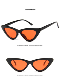 cute sexy retro cat eye sunglasses women small 2018 triangle vintage cheap sun glasses  female uv400 black+Orange one size