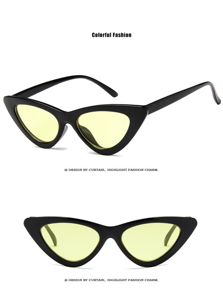 cute sexy retro cat eye sunglasses women small 2018 triangle vintage cheap sun glasses  female uv400 black+yellow one size