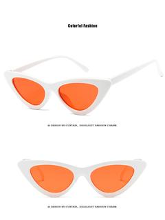 cute sexy retro cat eye sunglasses women small 2018 triangle vintage cheap sun glasses  female uv400 white+Orange one size