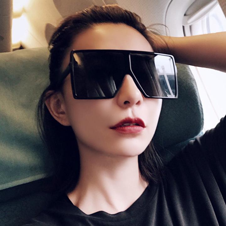 71cb9d04ae19 2018 Sexy Oversized Aviator Sunglasses Women Shades Retro Brand Designer  Sun Glasses black+black one