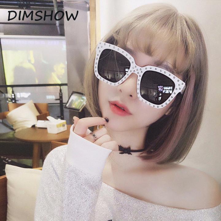 Black square frame glasses men clear lens rivet shade women sunglasses women  punk 2018 white pink 8d3d20019b