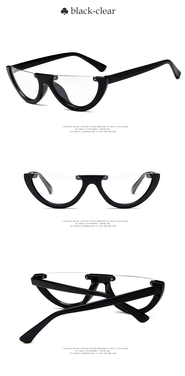 5a4972636f4 2018 Vintage Half Cat Eye Sunglasses Women Cool Black White Red Clear Sun  Glasses female male
