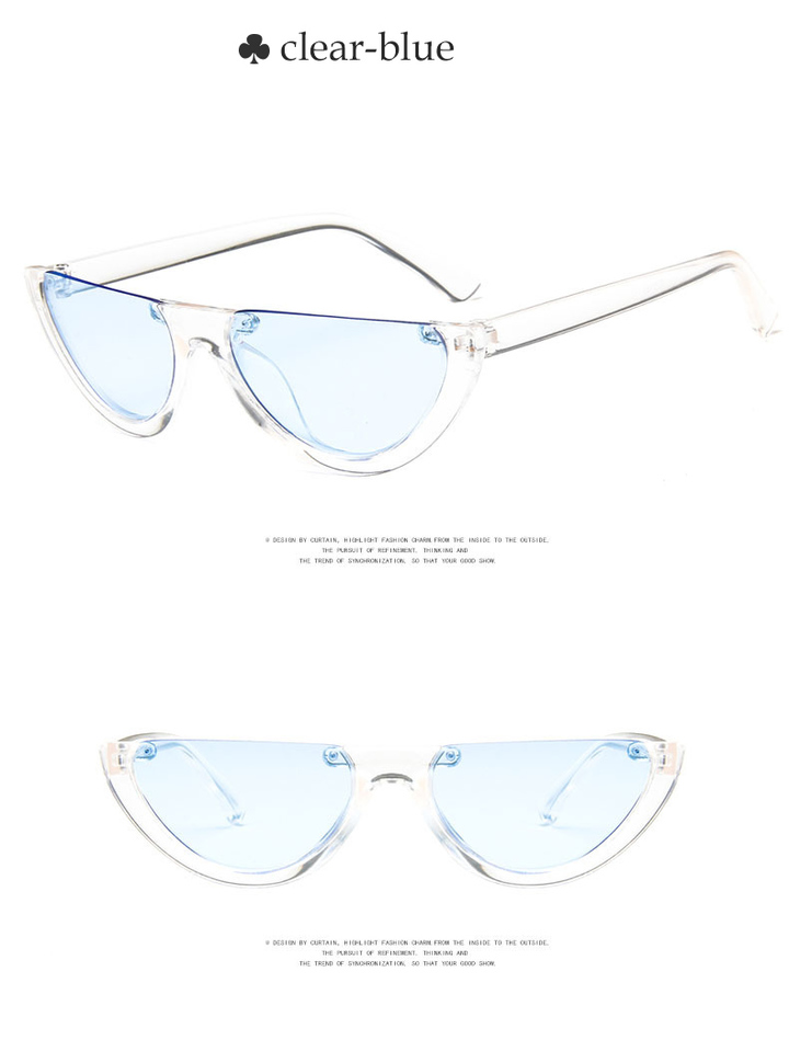 981904b5da0 2018 Vintage Half Cat Eye Sunglasses Women Cool Black White Red Clear Sun  Glasses female male