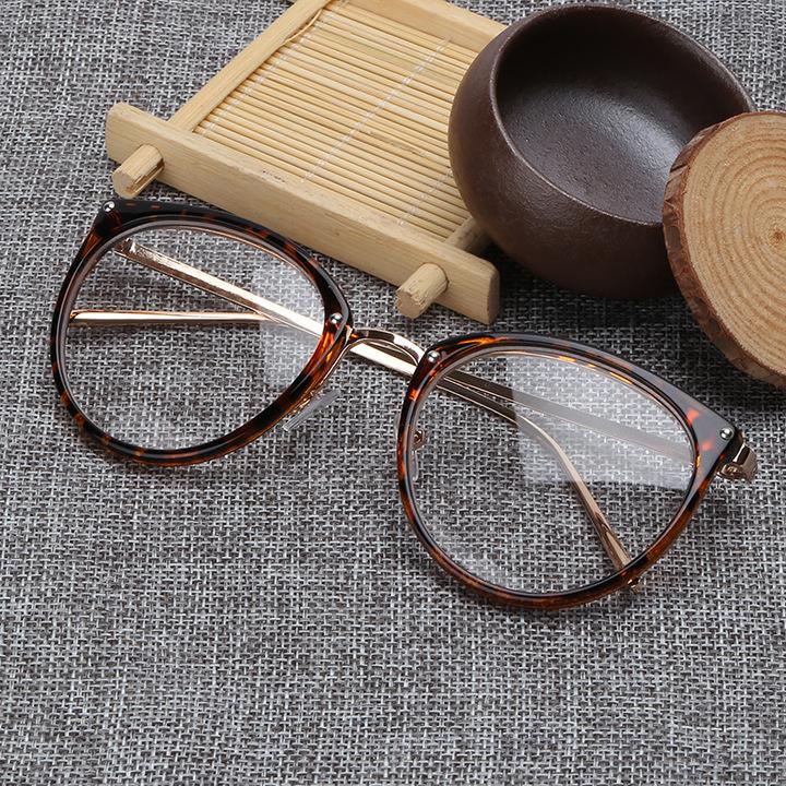 2e1450c29f Oversized Clear Lens Glasses Men Women Retro Metal Frame Eyeglasses Optical  Cat Eye Glasses leopard one