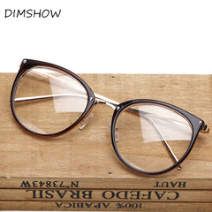 Oversized Clear Lens Glasses Men Women Retro Metal Frame Eyeglasses  Optical Cat Eye Glasses brown one size