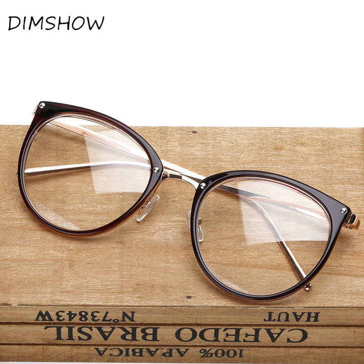 Oversized Clear Lens Glasses Men Women Retro Metal Frame Eyeglasses Optical Cat Eye Glasses brown one