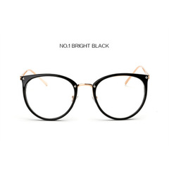 Oversized Clear Lens Glasses Men Women Retro Metal Frame Eyeglasses  Optical Cat Eye Glasses bright black one size