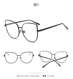 Fashion Eye Glasses Frame Women Sexy Cat Eye Brand Designer Metal Oversize Eyewear  Mirro Newest black one size