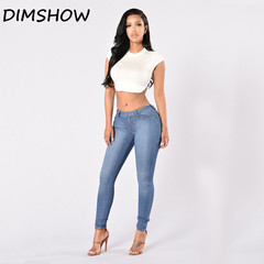 2018 Fashion Plus Size Pencil Pants Casual  High Waist Jeans Sexy stretch jeans Women Clothing blue s