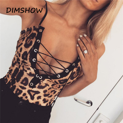 Women Sexy Leopard Print Jumpsuit Slim V Neck Bodysuit Tops Lace Up Bandage Monokini Bikini as picture s
