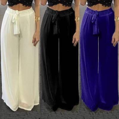 6f637ce7eeb Women Chiffon Wide Leg Pants 2018 Vintage Elegant Ladies Casual Loose  Elastic High Waist Bow Solid