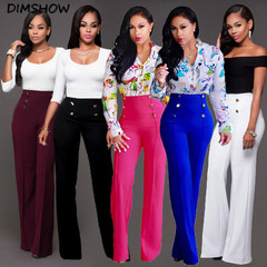 Ladies Palazzo Plain Flared Wide Leg Loose High Waist Full Pants leggings Baggy Trousers white s