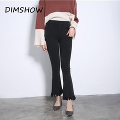 2018 vintage women high waist retro black flare pants sexy tassel skinny ankle-length trousers black m