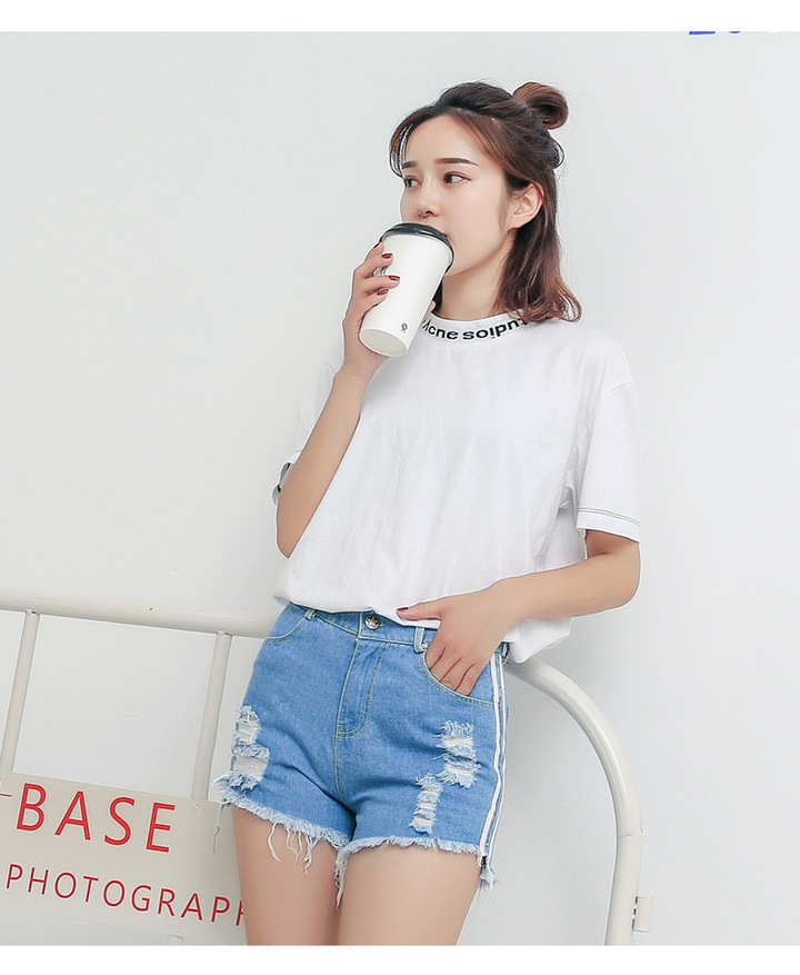 bf4a470db New Summer Fashion Women Side Stripe High Waist Jeans Hole Burrs Jeans  Wide-legged Denim