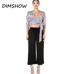 Europe And American Popular Sashes Decorate Wide Leg Pants Simple Style Loose Casual Trousers Women black m