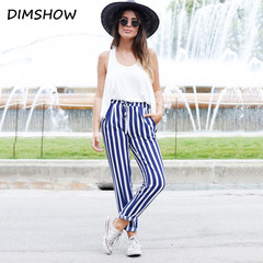 2018 New Striped OL Chiffon High Waist Harem Pants Women Summer Style Casual Pants Female Trousers blue s