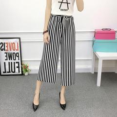 2018 Fashion Summer Wide Leg Pants Women High Waist Plaid Striped Loose Palazzo Pants Elegant Office 1 m